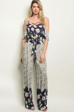 Navy Floral Print Top and Pants Set