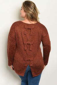 """Debbie"" Brick Tie Up Back Plus Size Sweater"