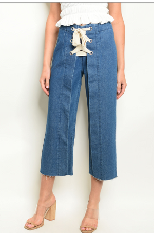 Denim Capri Tie Up Front Pants