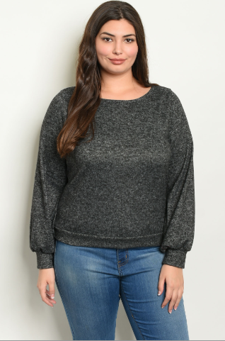 """Kim"" Charcoal Back Tie Plus Size Top"