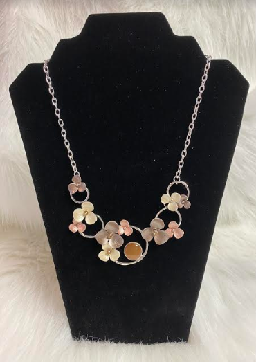 Pink, Cream & Taupe Flowers Metal Necklace