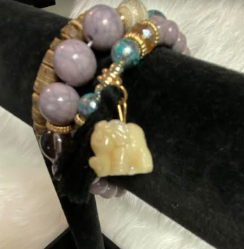 Eye Of God Bracelet With Ivory Elephant & Tassel Charm