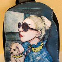 Women and Dog Small Backpack