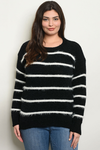 """Stephanie"" Plus Size Black and White Sweater"