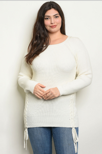 """Amy"" Cream Plus Size Sweater With Tie Up Sides"