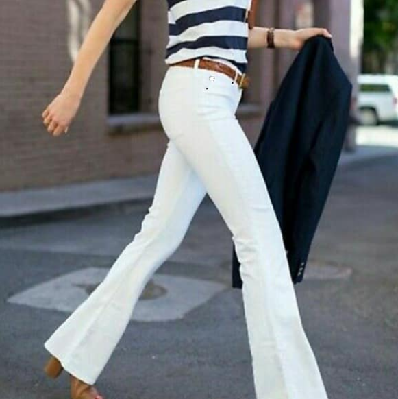White Flare Denim Pants