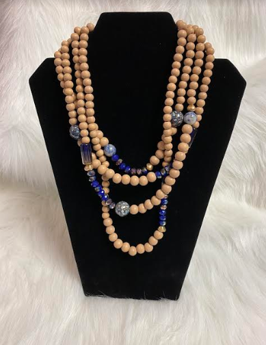 Wood & Blue Glass Beads - 4 Strand Necklace