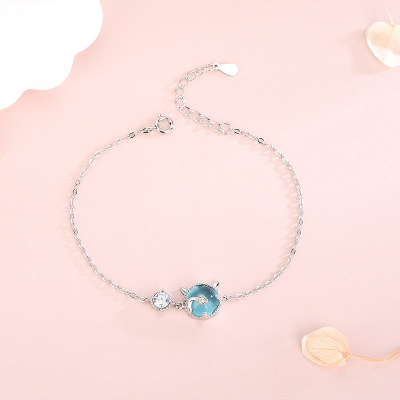 Sterling Silver Korean Style Blue Crystal Cat Bracelet with Diamond Zircon Small Fresh Sweet and Cute Animal Bracelet