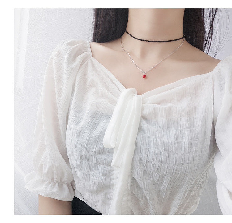 Minimalist mini red bean love necklace sterling silver necklace chic temperament female clavicle chain fashion jewelry