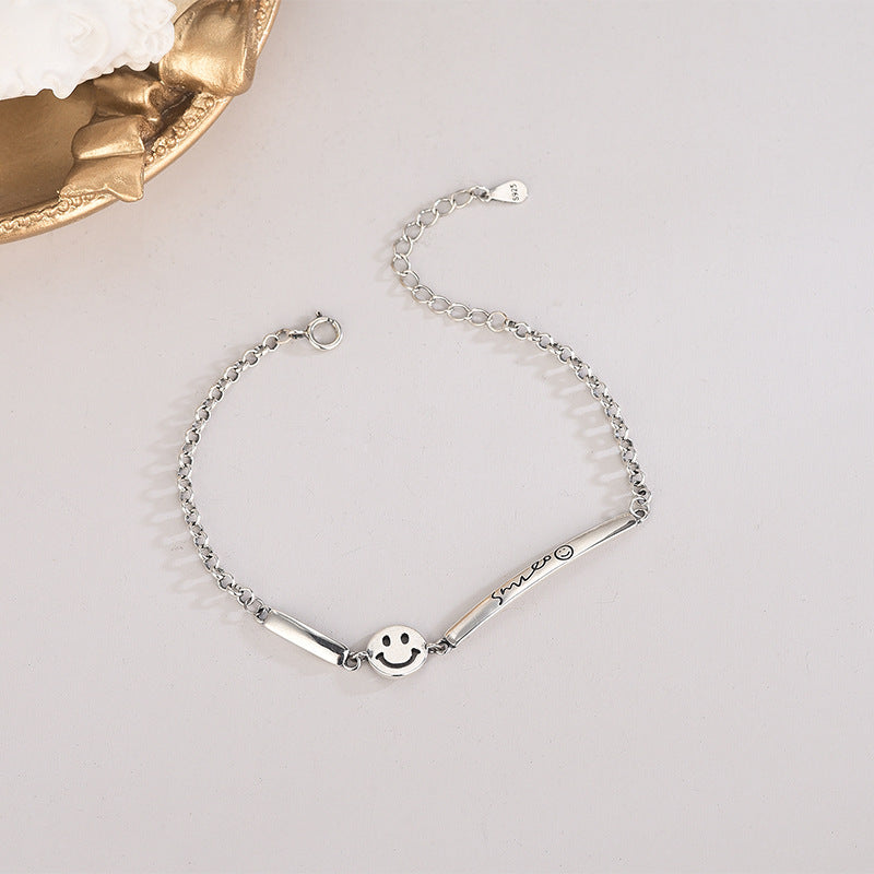 Sterling silver Japanese and Korean style heavy industry chain smiley face bracelet Thai silver retro old hip-hop style bracelet