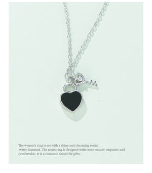 New Sterling Silver Necklace Heart Lock Key Pendant Student Simple Clavicle Chain Silver Jewelry Creative Gift
