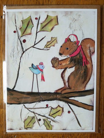 Gift Giving Squirrel 5 x 7 card with envelope