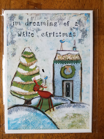 White Christmas 5 x 7 card with envelope