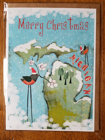 Merry Christmas Michigan 5 x 7 card with envelope