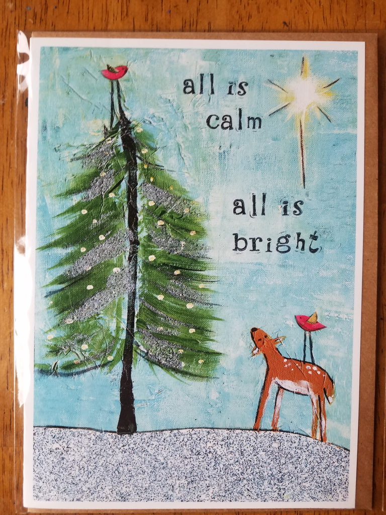 Silent night 5 x 7 card with envelope