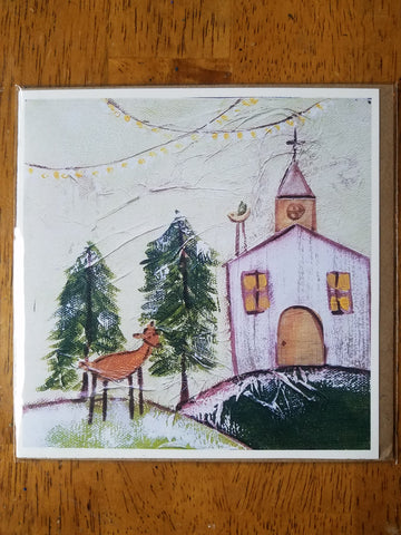 Church in the Woods   5 x 5 card with envelope