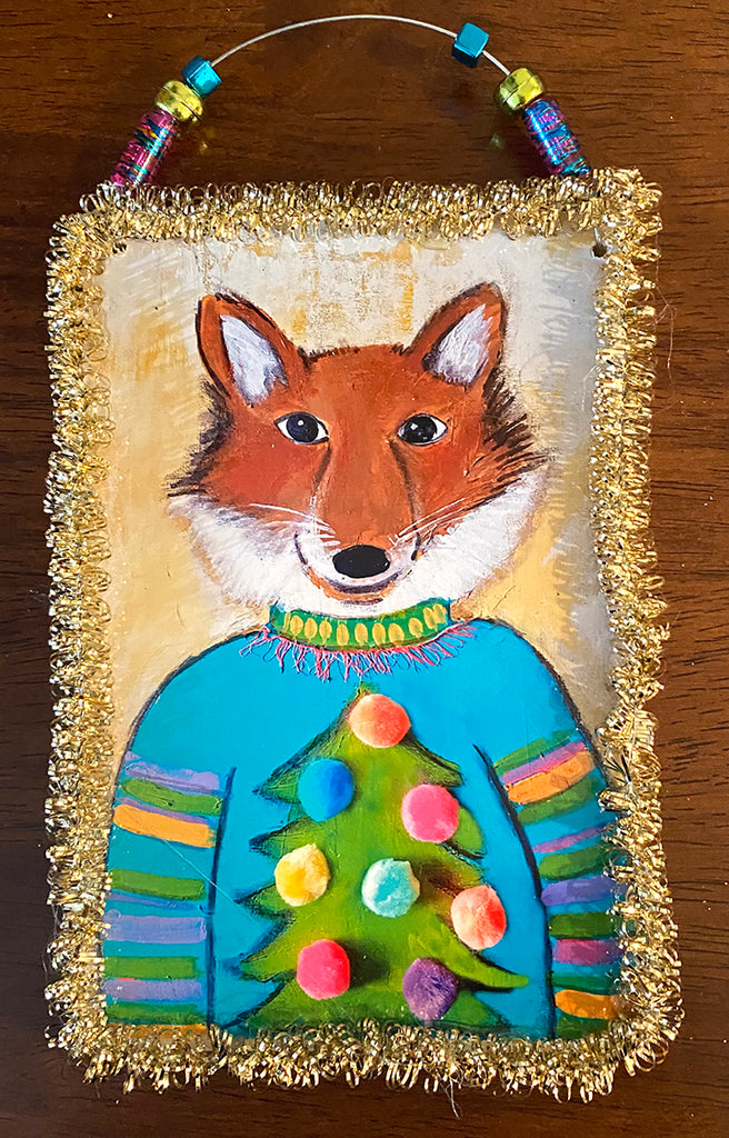 Fox in Sweater....Christmas Ornament