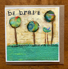 """Be Brave Little One"", Original Mixed Media Painting and collage"