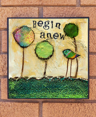 Begin Anew II... wood block print