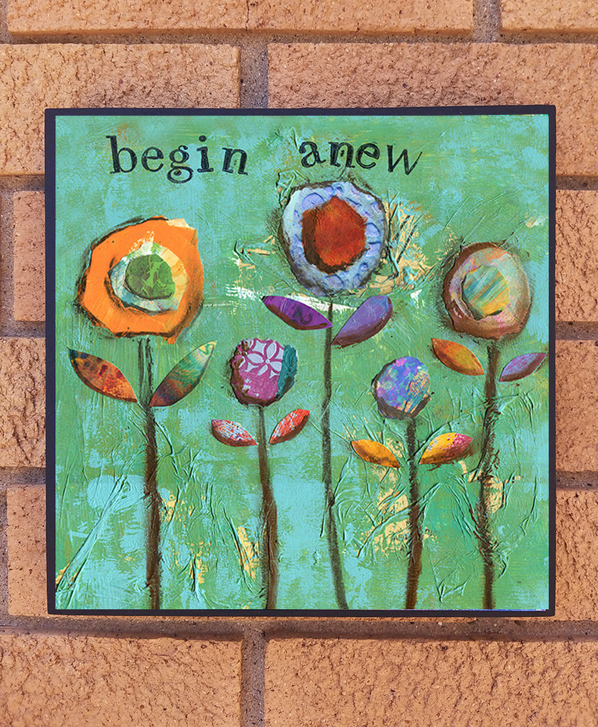 Begin Anew..... wood block print