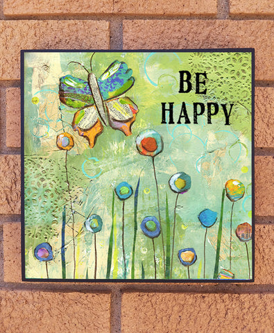 Be Happy. wood block print