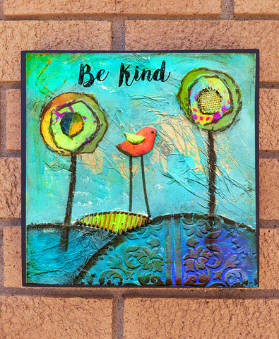 Be Kind. wood block print