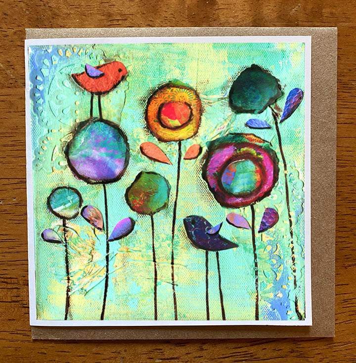 Garden Blooms..... 5 x 5 greeting card
