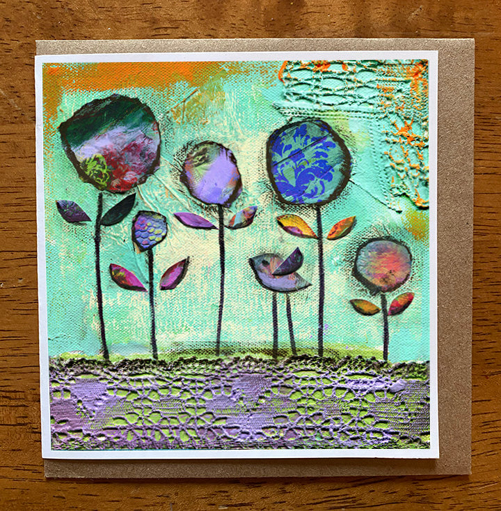 Flower Meadow.... 5 x 5 greeting card