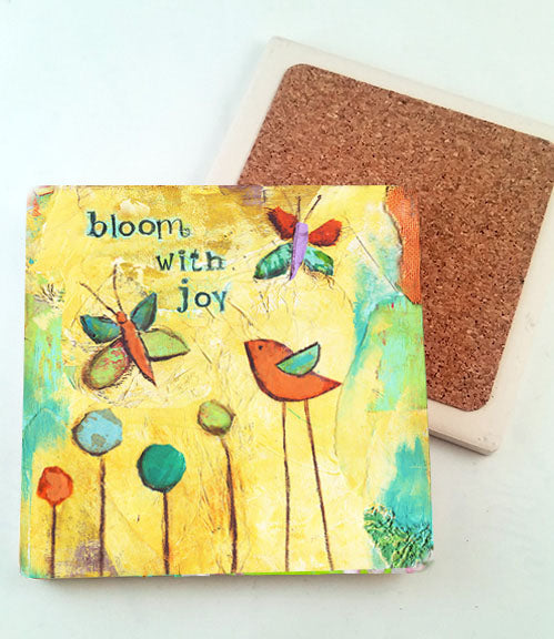 Bloom with Joy.. absorbant stone coaster