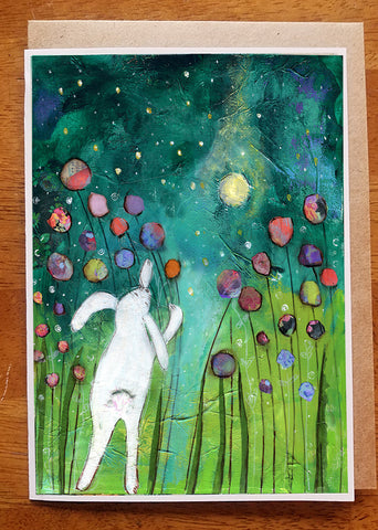 Bunny in the moonlight..... Greeting Card