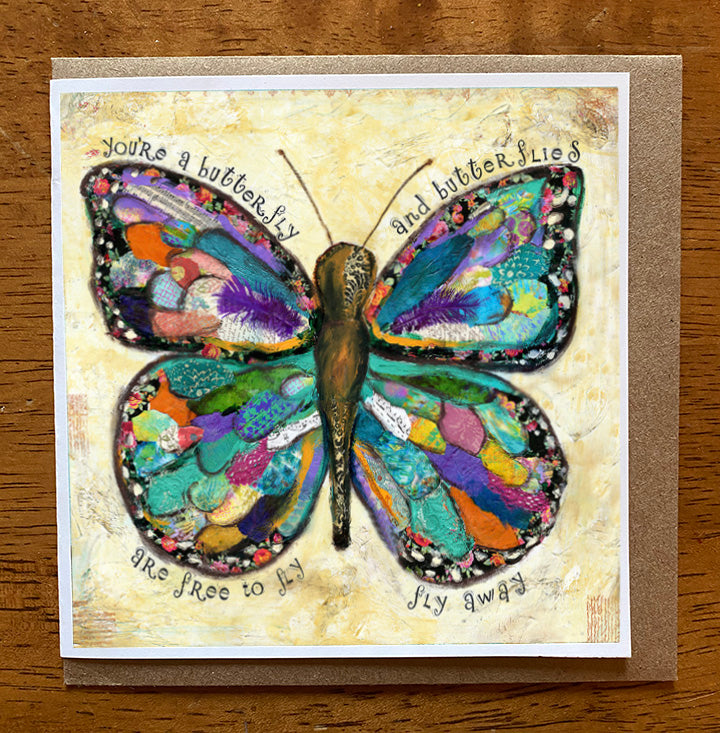 Butterflies Are free to Fly.. 5 x 5 greeting card