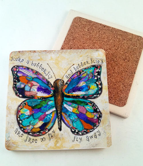 Butterflies are Free to Fly.. absorbant stone coaster