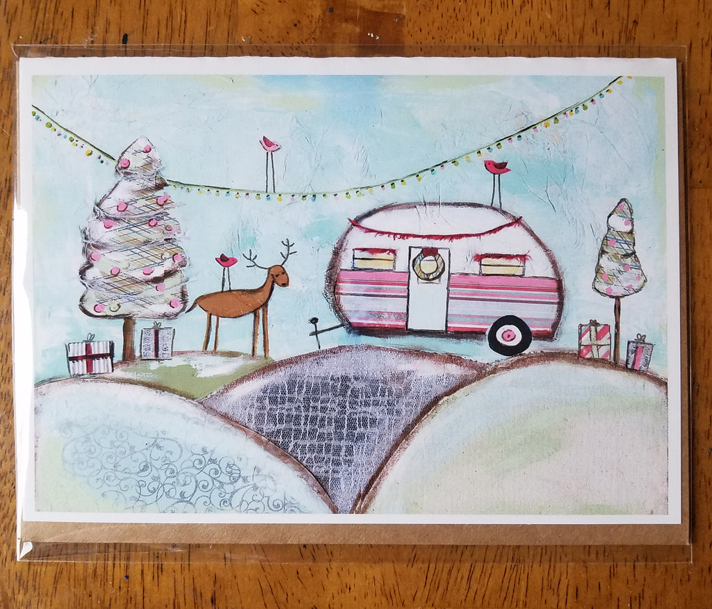 Glamping Christmas  5 x 7 card with envelope