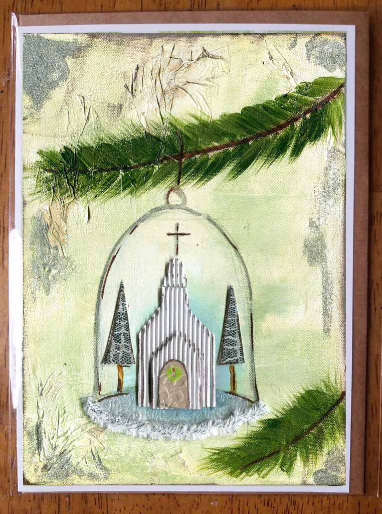 Church in a globe 5 x 7 card with envelope
