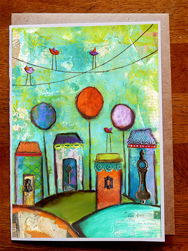 Colorful Village...5 x 7  Greeting Card