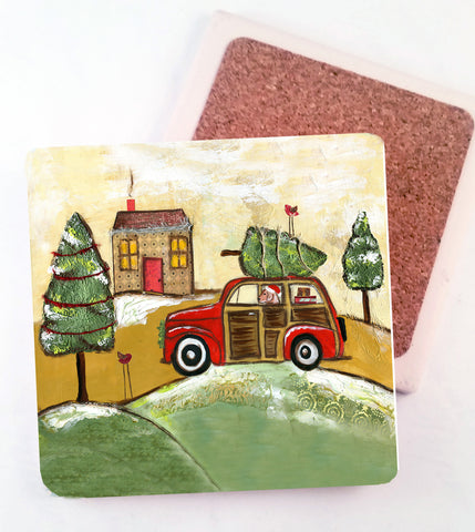 Christmas Cruisn'.....Absorbant Stone Coaster