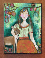 Girl with Deer..wood block print