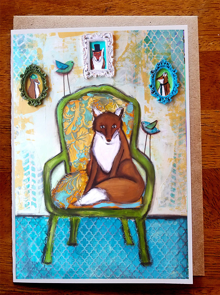 Fox and Family.. Greeting Card