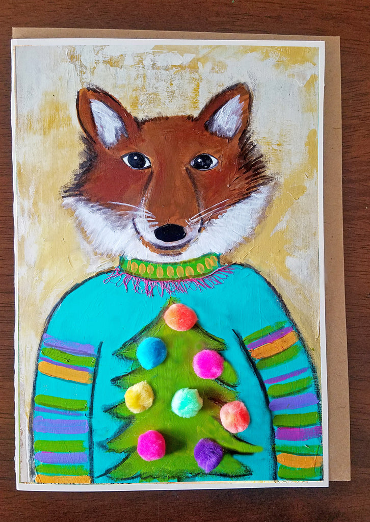 Fox in Sweater 5 x 7 card with envelope