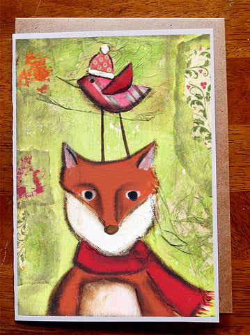 Christmas Fox.... 5 x 7 card with envelope