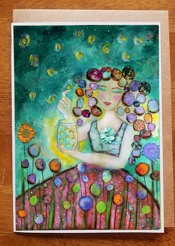 Girl with Fireflies...... Greeting Card