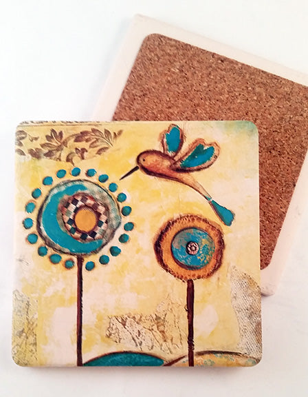 Golden Meadow. absorbent stone coaster