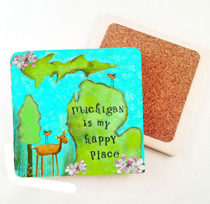Michigan is my Happy Place. absorbant stone coaster