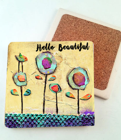 Hello Beautiful...Absorbant Stone Coaster