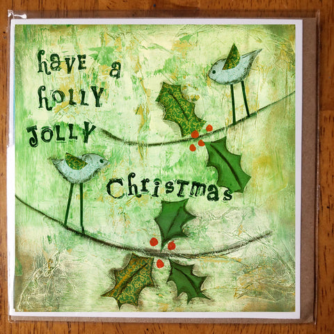 Holly Jolly Christmas 5 x 5 Greeting card