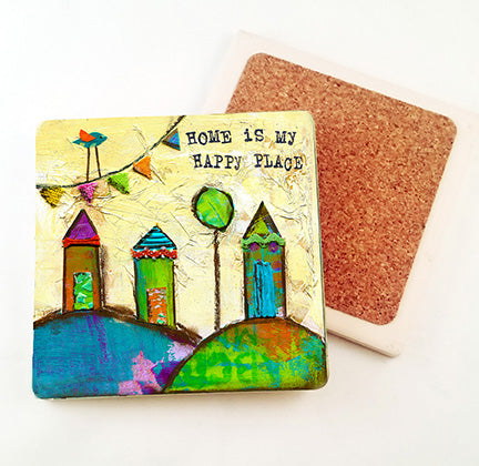 Home is My Happy Place.. absorbant stone coaster