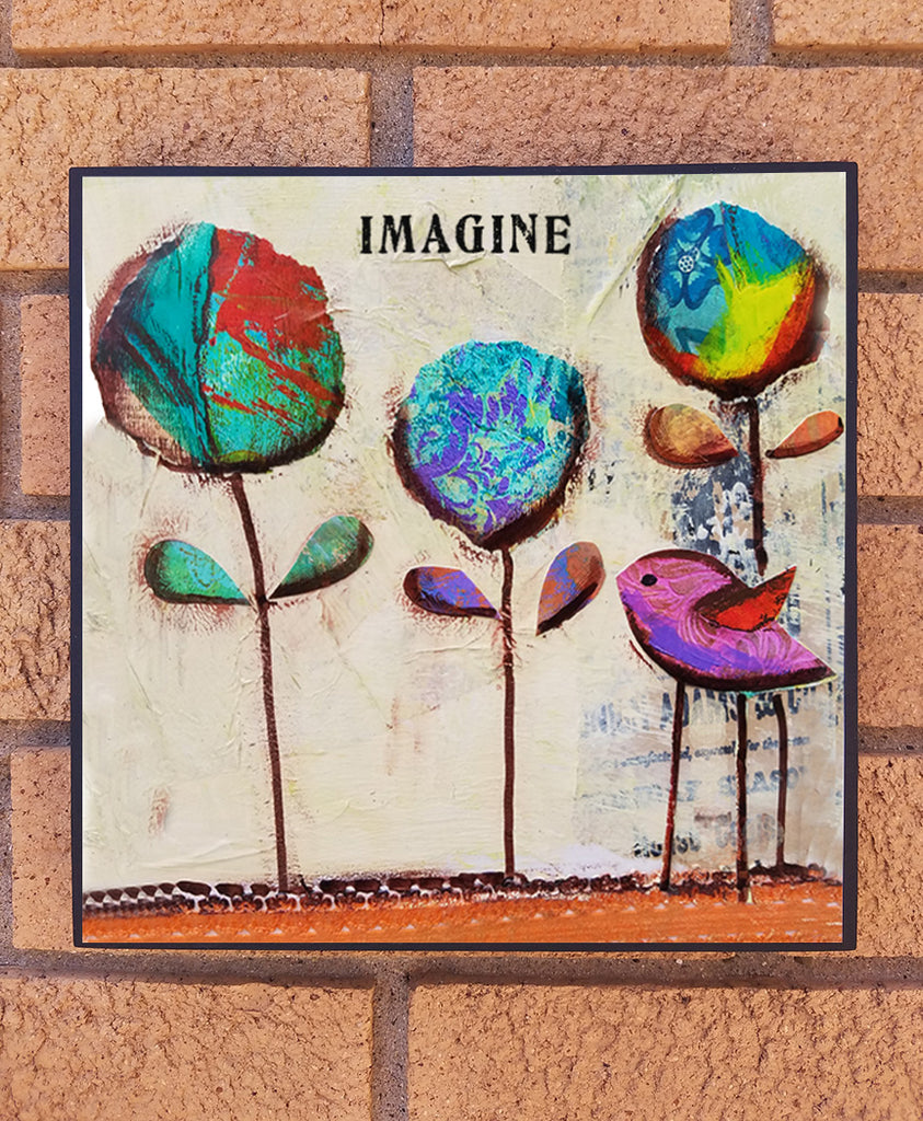 Imagine.. wood block print