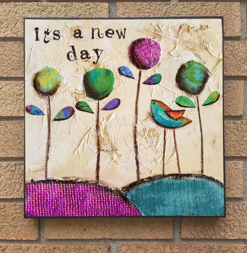 It's a New Day..... wood block print