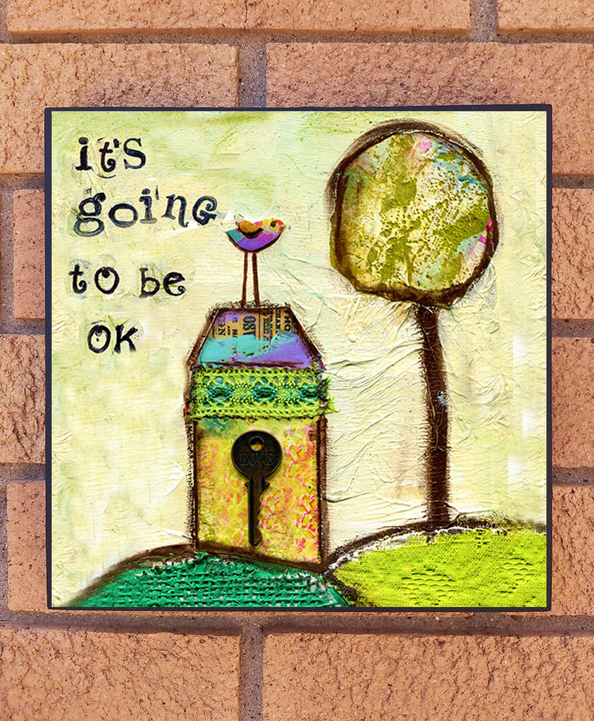 It's Going to be OK wood block print