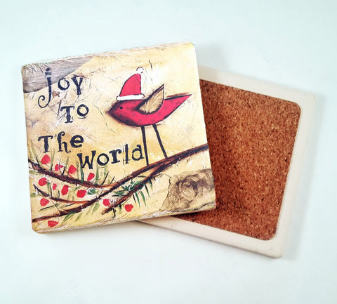 Joy to The World...Absorbant Stone Coaster